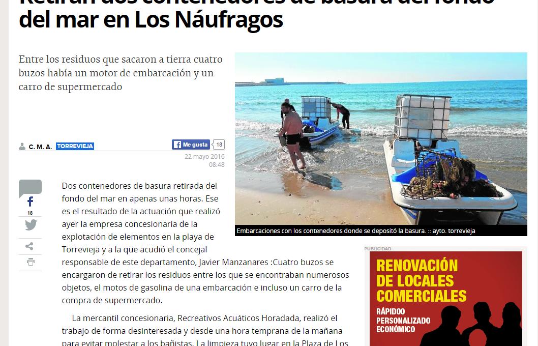 Limpieza subacuática en Playa de Los Náufragos (Torrevieja) 2