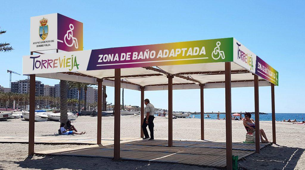 pérgola de playa accesible